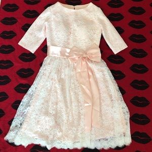 NWOT handmade retro pink lace bow dress S